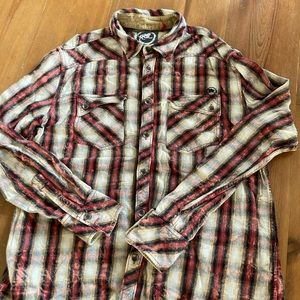 Parasitons Casual Flannel Button Down Men Shirt